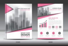 Diseño creativo de la cubierta del informe anual del folleto de la plantilla rosada del aviador Imágenes de archivo libres de regalías