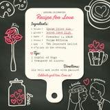 Diseño creativo de la invitación de la boda de la tarjeta de la receta con cocinar concepto Imágenes de archivo libres de regalías