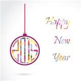 Diseño creativo de la tarjeta de felicitación de la Feliz Año Nuevo 2015 Fotos de archivo libres de regalías
