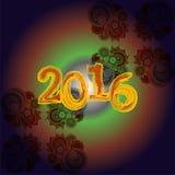 Diseño creativo de la tarjeta de felicitación de la Feliz Año Nuevo 2016 Fotos de archivo
