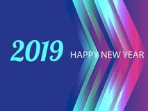 Diseño creativo de una tarjeta del Año Nuevo en 2019 en un fondo moderno Cartel brillante en el estilo de Memphis Una base de stock de ilustración