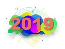 Diseño creativo de una tarjeta del Año Nuevo en 2019 en un fondo moderno Cartel brillante en el estilo de Memphis Una base de geo ilustración del vector