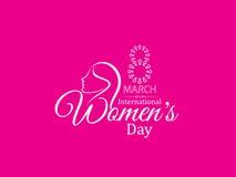 Diseño creativo del fondo del color rosado para el día de las mujeres Foto de archivo libre de regalías