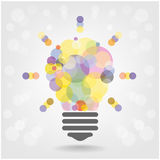 Diseño creativo del fondo del concepto de la idea de la bombilla Fotografía de archivo libre de regalías