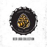 Diseño creativo del logotipo con el casquillo de la botella de cerveza Imagen de archivo libre de regalías