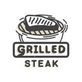 Diseño creativo del logotipo con el filete asado a la parrilla Ilustración del vector Imagen de archivo