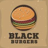 Diseño creativo del logotipo con la hamburguesa Ilustración del vector Fotografía de archivo libre de regalías