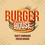 Diseño creativo del logotipo con la hamburguesa Ilustración del vector Fotografía de archivo