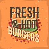 Diseño creativo del logotipo con la hamburguesa Ilustración del vector Imagen de archivo