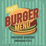Diseño creativo del logotipo con la hamburguesa Ilustración del vector Fotos de archivo