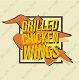 Diseño creativo del logotipo con las alas de pollo asadas a la parrilla Ilustración del vector Imágenes de archivo libres de regalías