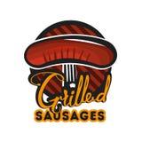 Diseño creativo del logotipo con las salchichas asadas a la parrilla Ilustración del vector Foto de archivo libre de regalías