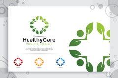 Diseño creativo del logotipo del vector de la gente de la hoja con el concepto moderno de la sinergia, gente del ejemplo del símb ilustración del vector