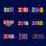 Diseño creativo del número del Año Nuevo 2018 en colores del arte pop tema dibujado 2018 manos para la tarjeta en estilo moderno Fotos de archivo