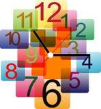 Diseño creativo del reloj colorido Imagenes de archivo