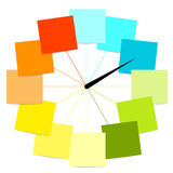 Diseño creativo del reloj con las etiquetas engomadas Fotografía de archivo