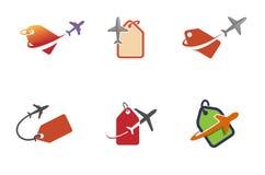 Diseño creativo del símbolo de la etiqueta de la tienda de los aviones Fotos de archivo libres de regalías