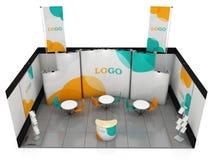 Diseño creativo en blanco del soporte de la exposición Plantilla de la cabina 3d rinden Imagenes de archivo