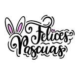Diseño cristiano español del saludo del día de fiesta de Pascua de los felices del vector feliz de los pascuas stock de ilustración
