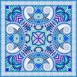 Diseño cuadrado de seda del modelo de la bufanda o del pañuelo de cuello en s ucraniano ilustración del vector