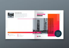 Diseño cuadrado del folleto Folleto anaranjado de la plantilla del rectángulo del negocio corporativo, informe, catálogo, revista stock de ilustración