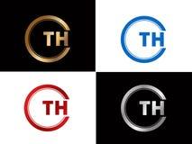 Diseño cuadrado del logotipo de la letra de la forma del TH en el color oro de plata ilustración del vector