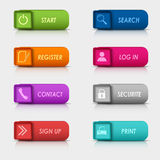 Diseño cuadrado rectangular de los botones del web del sistema coloreado Imagenes de archivo