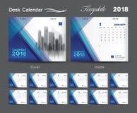 Diseño 2018, cubierta azul de la disposición de la plantilla del calendario de escritorio ilustración del vector