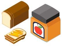 diseño 3D para el atasco del pan y de la manzana Fotografía de archivo libre de regalías
