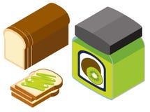 diseño 3D para el atasco del pan y del kiwi Foto de archivo