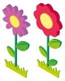 diseño 3D para las flores coloridas ilustración del vector