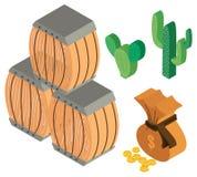 diseño 3D para los barriles y las monedas ilustración del vector