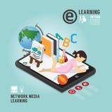 Diseño de aprendizaje de la plantilla de la educación de Infographic medios Foto de archivo libre de regalías