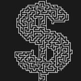 Diseño de BG del laberinto del dólar Concepto de la decisión o de la idea stock de ilustración