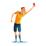 Diseño de carácter del árbitro del fútbol de la historieta Juzgue mostrar la tarjeta roja Vector Illustratio Fotografía de archivo libre de regalías