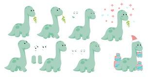 Diseño de carácter del diplodocus de Dino del bebé fijado con emociones y el movimiento con la Navidad y tarjetas del día de San  ilustración del vector