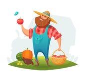 Diseño de carácter del granjero de la historieta ranchero que sostiene una cesta de verduras en su mano Ilustración del vector Foto de archivo