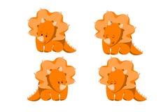 Diseño de carácter del triceratops de Dino del bebé fijado con emociones y el movimiento con la Navidad y tarjetas del día de San libre illustration