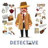 Diseño de carácter detective con el equipo elementos determinados del icono - v Fotografía de archivo libre de regalías