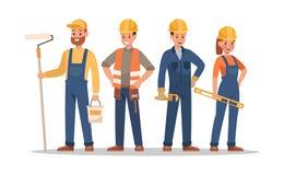Diseño de caracteres del personal de la construcción Incluya al capataz, pintor, electricista, paisajista, carpintero Los profesi ilustración del vector
