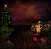 Diseño de Chritmas - árbol de Navidad de la noche Fotos de archivo libres de regalías