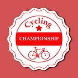 Diseño de ciclo de la etiqueta engomada del campeonato Imágenes de archivo libres de regalías