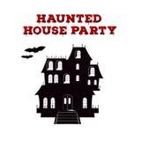 Diseño de concepto del aviador de la invitación para el partido de Halloween Plantilla del cartel con la casa encantada y la fuen stock de ilustración