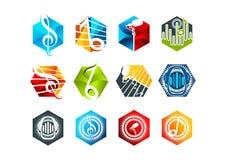 Diseño de concepto del sonido, del logotipo, del Karaoke, del símbolo, del golpe, del icono y de la música Fotos de archivo