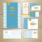 Diseño de concepto frito del menú del restaurante de los pescados Template corporativo para las ilustraciones del asunto Foto de archivo libre de regalías
