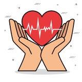 Diseño de concepto sano de la forma de vida del corazón stock de ilustración