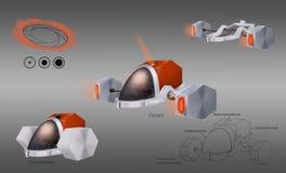 Diseño de concepto de vehículo de la ciencia ficción libre illustration