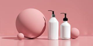Diseño de crema cosmética natural, suero, empaquetado en blanco de la botella del skincare Bio producto orgánico Belleza y concep ilustración del vector