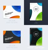 Diseño de cubierta suave de la plantilla del folleto Sistema moderno colorido del extracto, informe anual con las formas para cal stock de ilustración