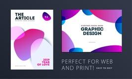 Diseño de cubierta suave de la plantilla del folleto Sistema moderno colorido del extracto, informe anual con las formas para cal ilustración del vector